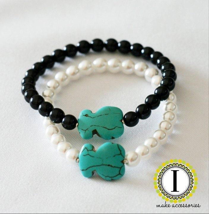 Turquoise Tous Bear (Tous Inspired) Pearl Bracelet