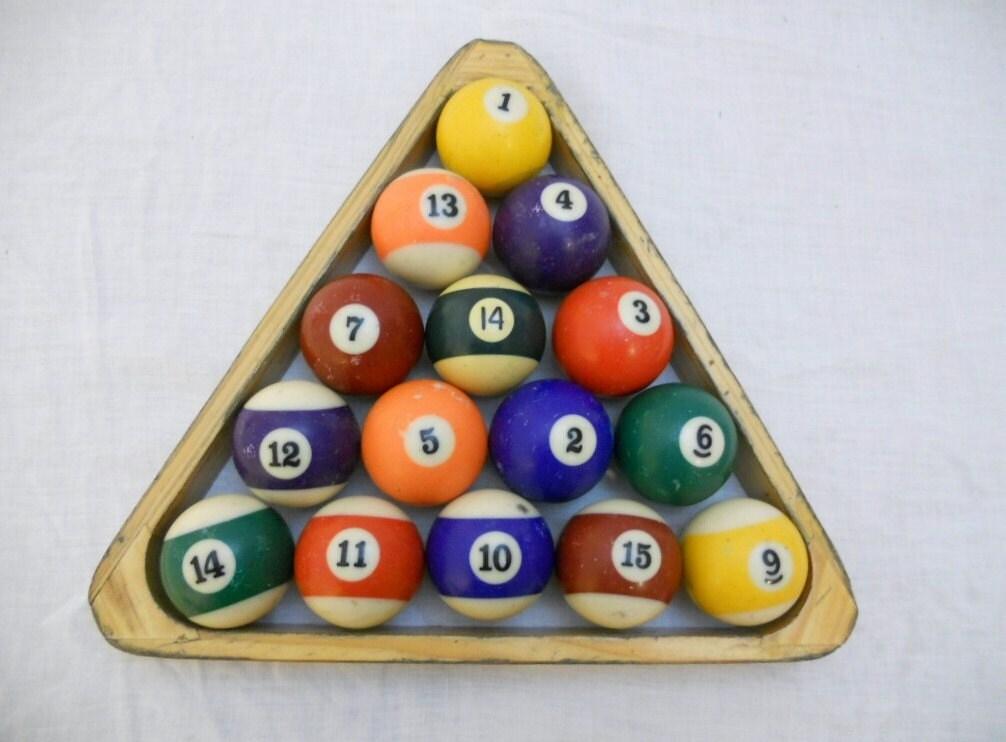 SALE  Vintage Pool Balls and Two Racks