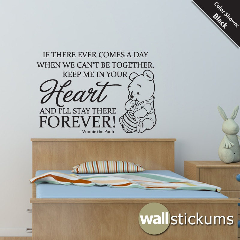 Nursery wall decal quote winnie the pooh heart by wallstickums for Decor quotes