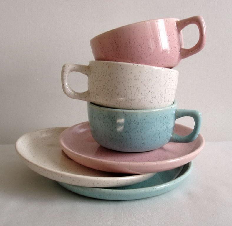 Set of three vintage coffee cups