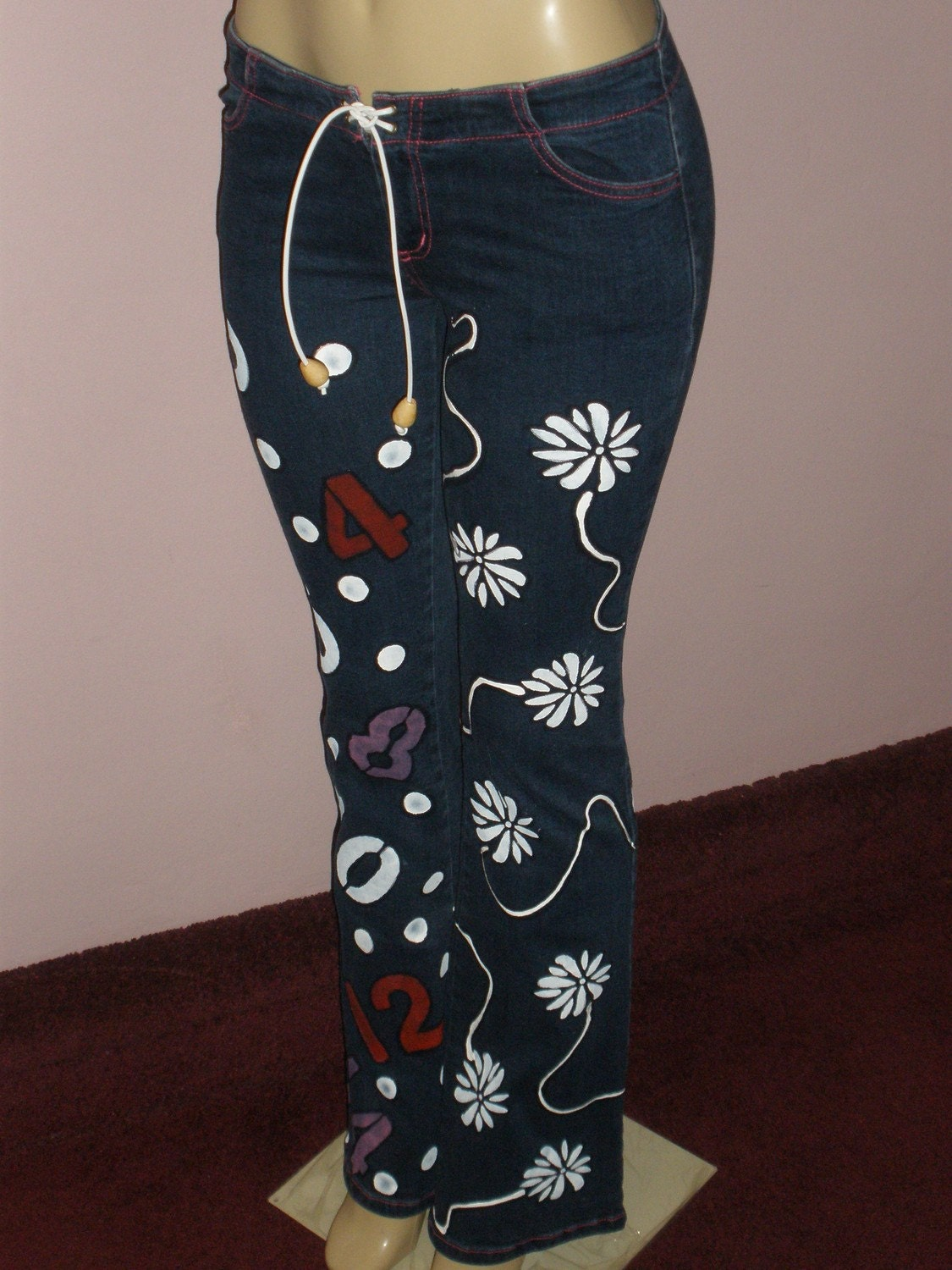Eye Catching Recreated Uniquely Painted Stretch Denim Jeans
