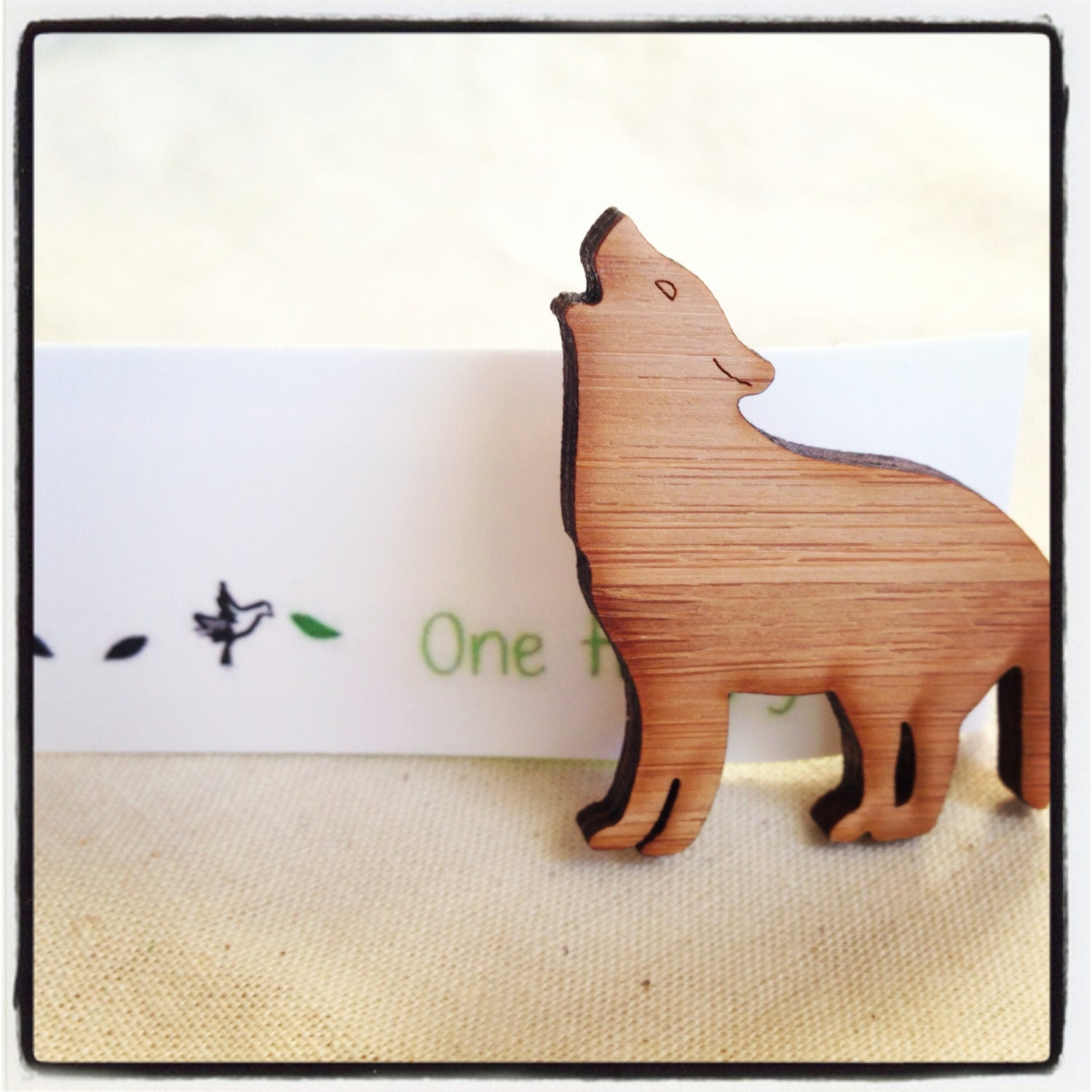 Brooch wolf pin in eco friendly wood - unique handmade jewelry by onehappyleaf on Etsy