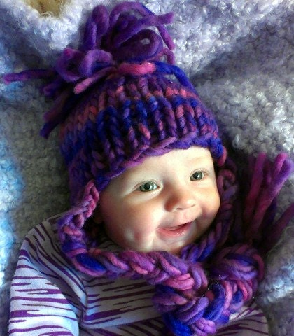 purple baby hat - ready to ship