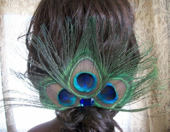 Large Peacock Hair Clip With Blue Rhinestone