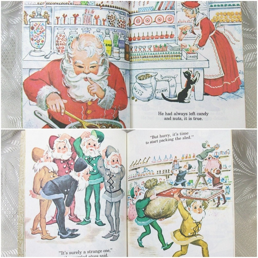Vintage Little Golden Book Santa Christmas Holiday Red 1979 PeachyChicBoutique on Etsy