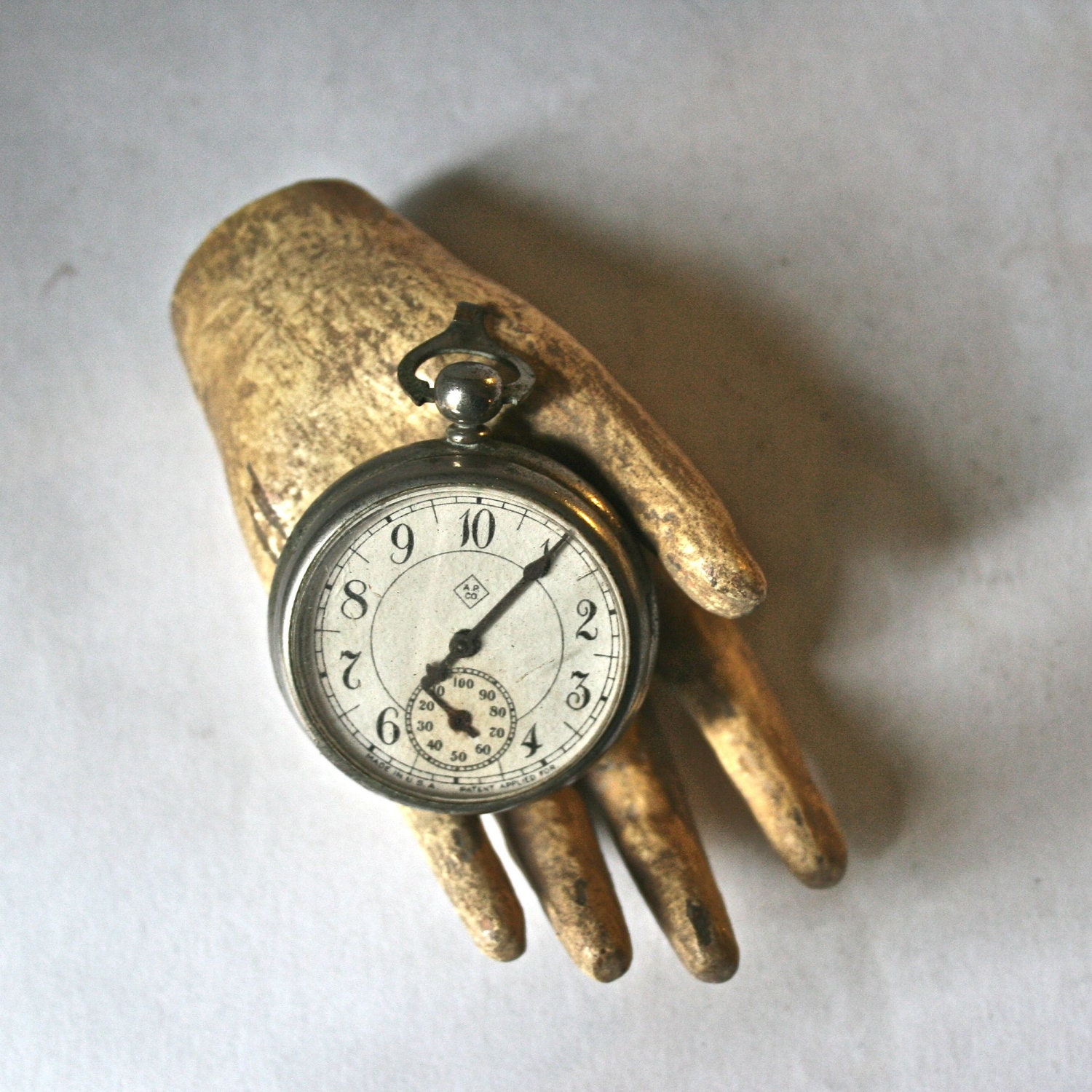 Antique Intact Non-Functioning Pocket Watch with Hook for Steampunk Altered Art - ReminiscencePapers