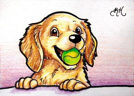golden retriever dog breed. Golden Retriever puppy ORIGINAL ACEO - Dog breed series. From KateHollArt