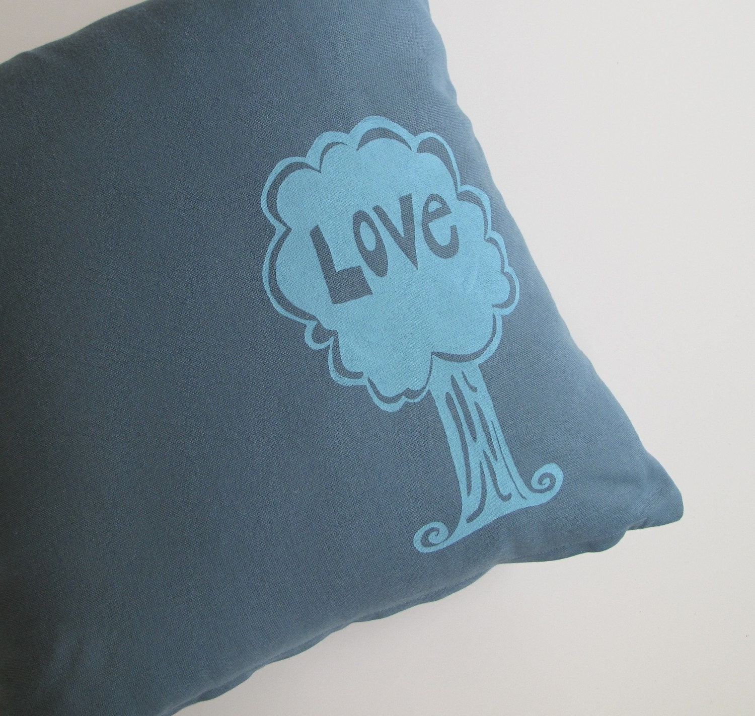 Pillow Cover - Love Tree on  Teal Blue Organic Cotton - 16 x 16 inches