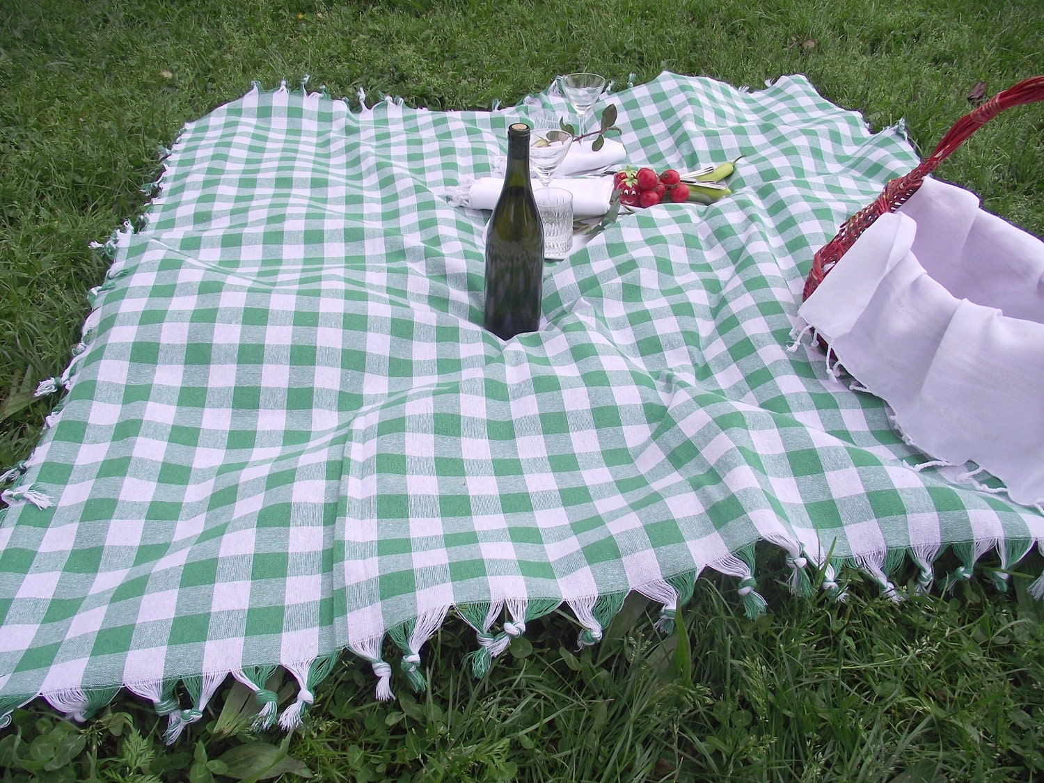 Best Quality Hand Woven Turkish Cotton Picnic Cover or Garden,Kitchen Tablecloth-Apple Green and White Checked