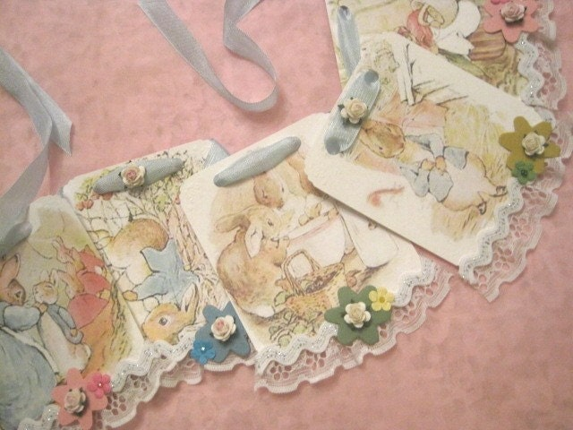 Story Book EASTER Banner - Peter Rabbit and Friends - Bunnies - Rabbits - Eggs - Holiday - Vintage - Shabby Sweet - Lace - Ric Rac - Paper Roses - Seam Binding