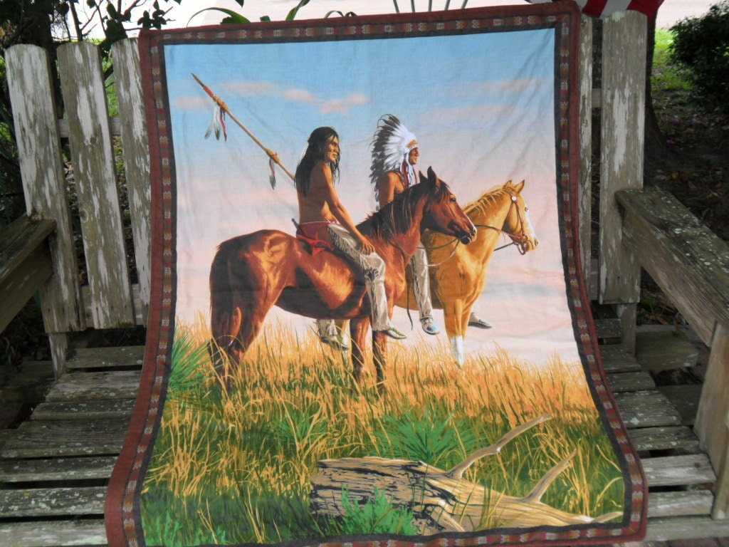 Native American and Horses Baby Blanket