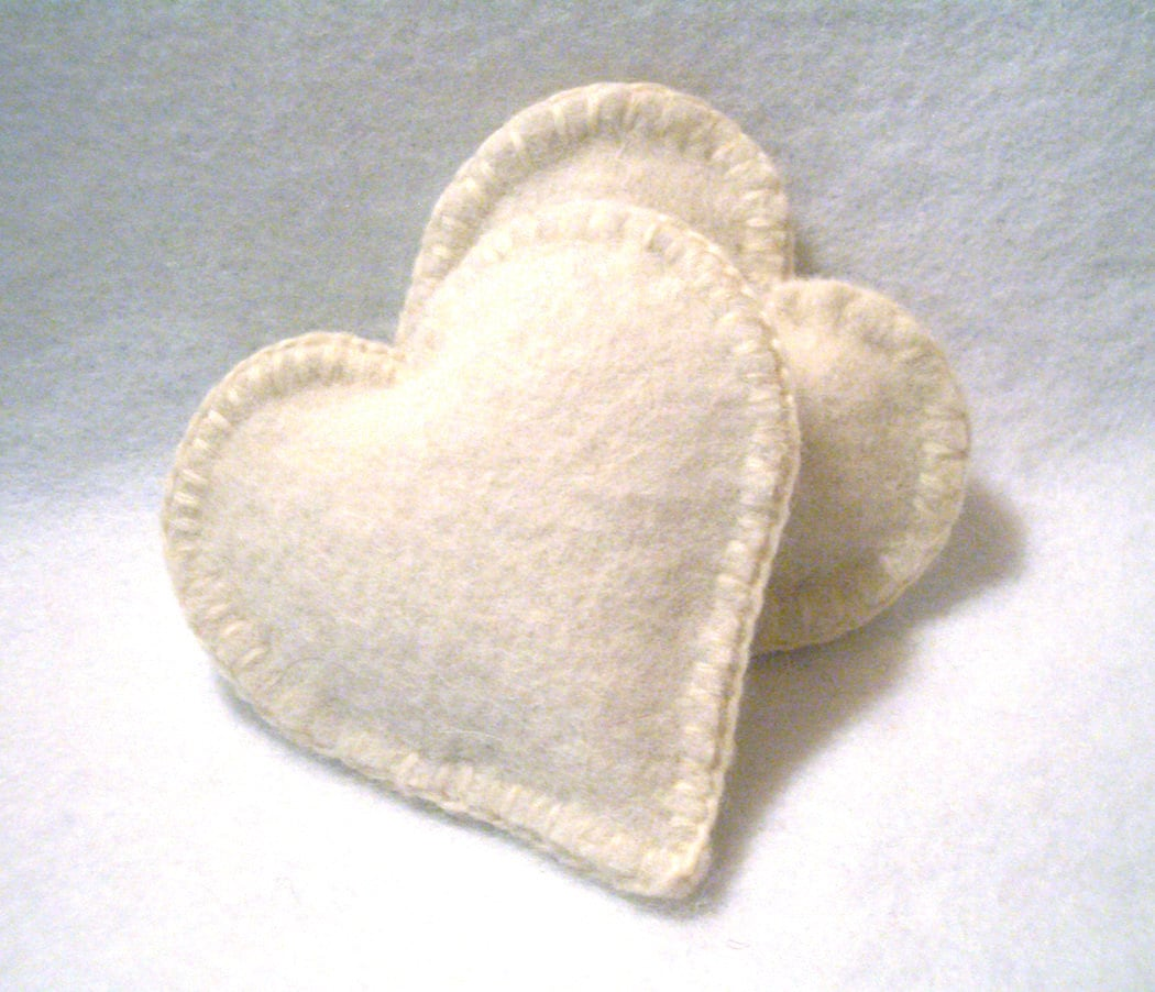 Pocket Hand Warmers Wool WHITE HEART Cashmere - ScissorwizardDesigns