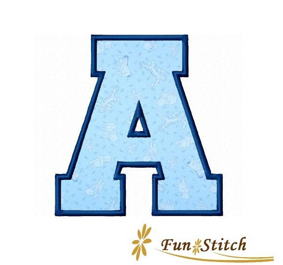 26 sports varsity applique machine embroidery font by for Varsity letter applique