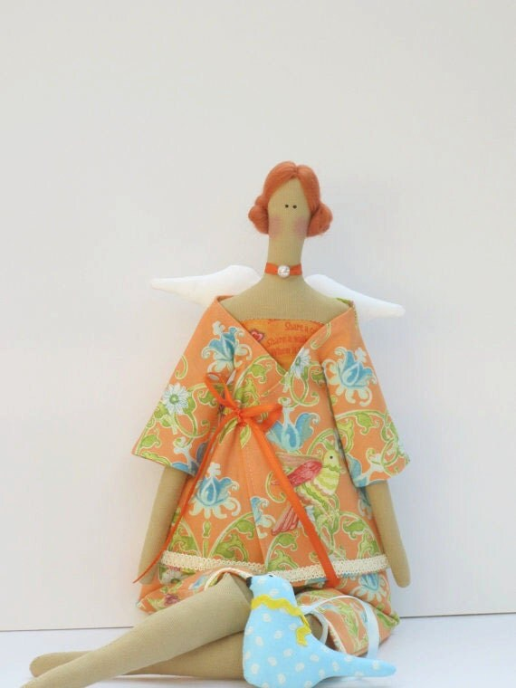 Pretty angel fabric doll,cloth doll with a blue bird, art doll in orange multicolor bird print pantsuit, Summer angel - gift for girls