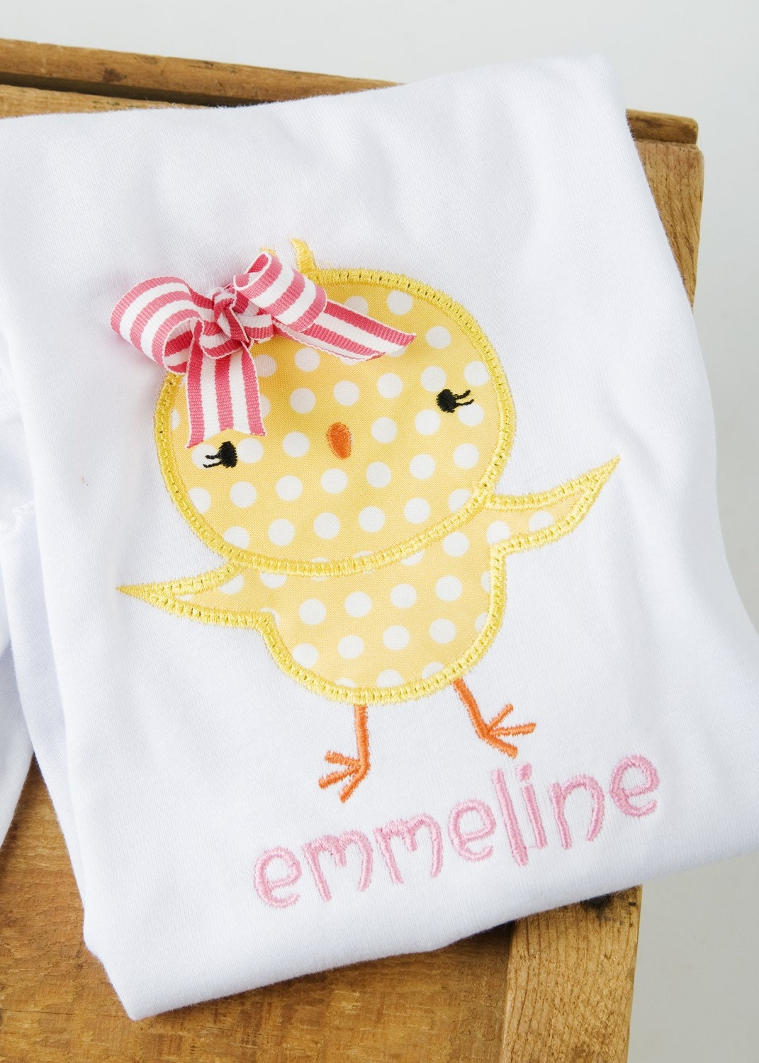 Custom Applique Spring Whimsical Chick Easter Personalized Monogrammed T Shirt