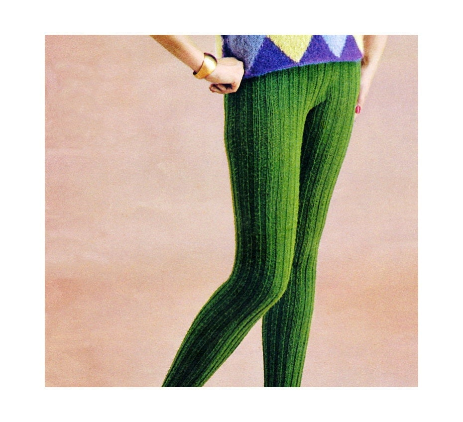 Knit Tights Pattern : Vintage Knitting Pattern Ribbed Tights 1960s by 2ndlookvintage