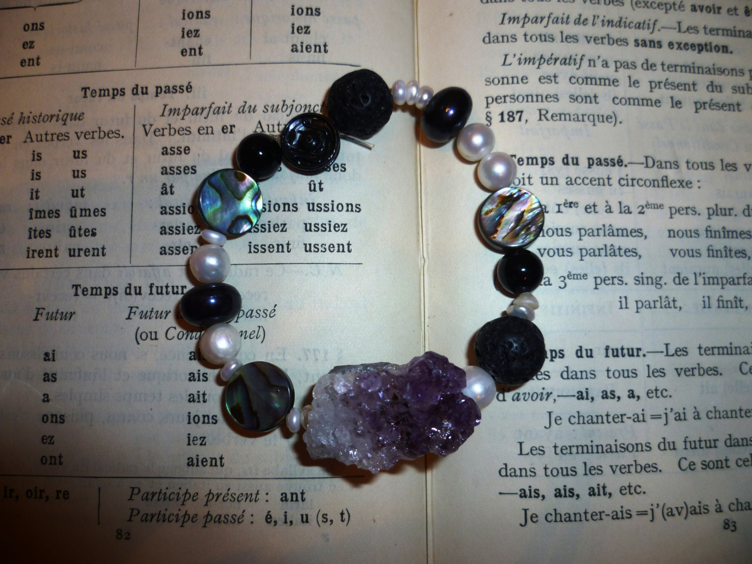 Raw amethyst and freshwater pearl statement bracelet