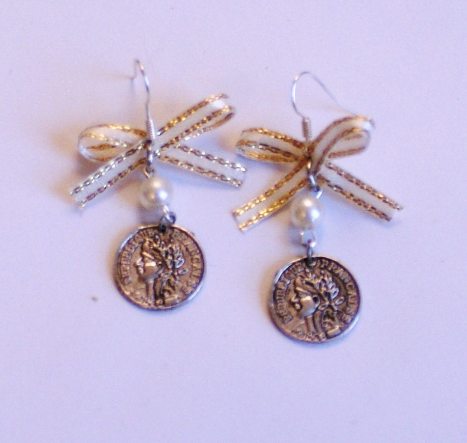 Faux French coin charm earrings with faux pearls and cream and gold fabric bows on silver-plated fish-hooks