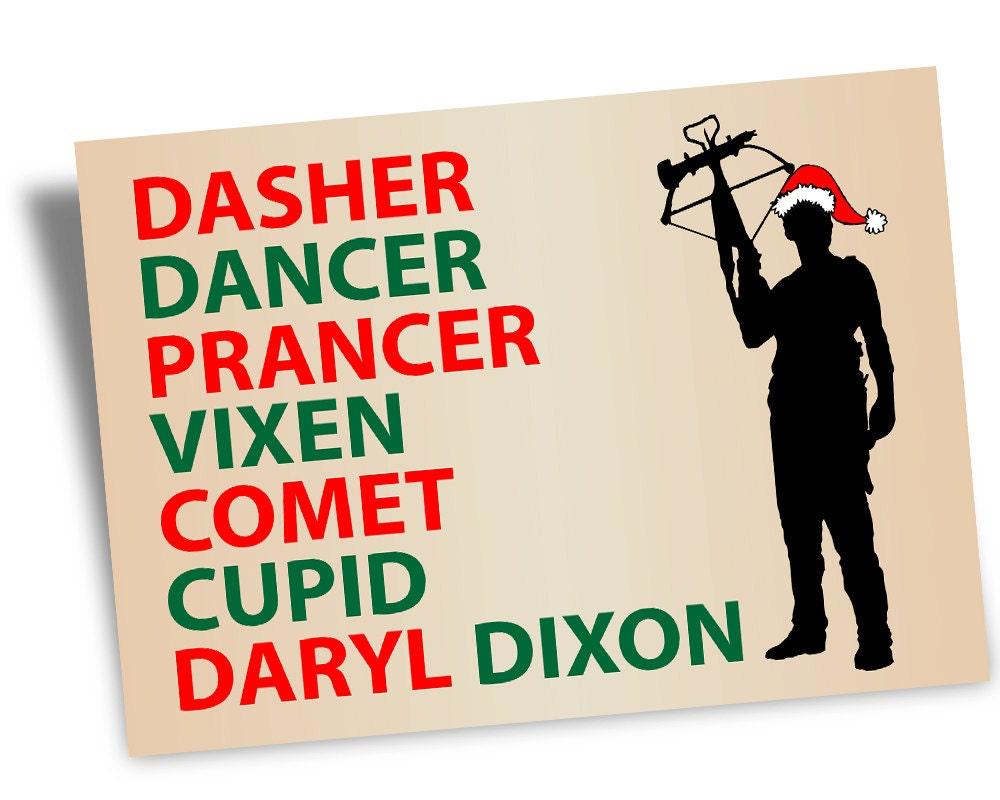 Printable Digital CHRISTMAS Card, Walking Dead Daryl Dixon Christmas ...