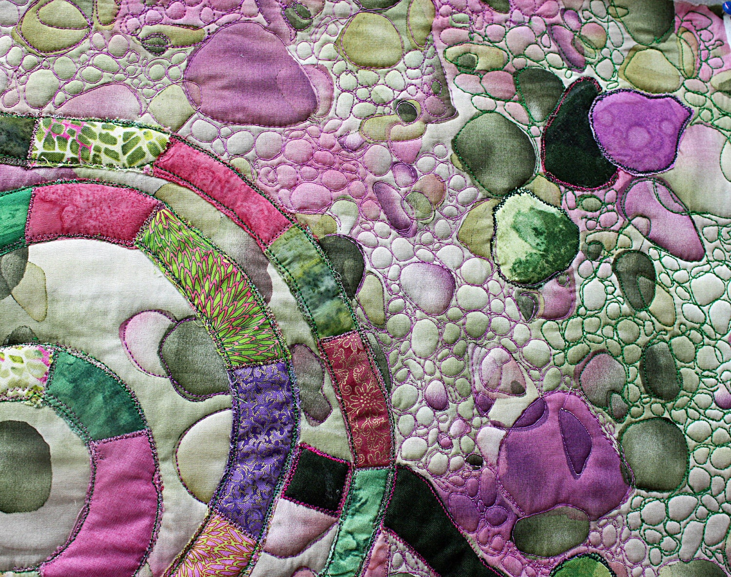 Original abstract art quilt pink green mauve