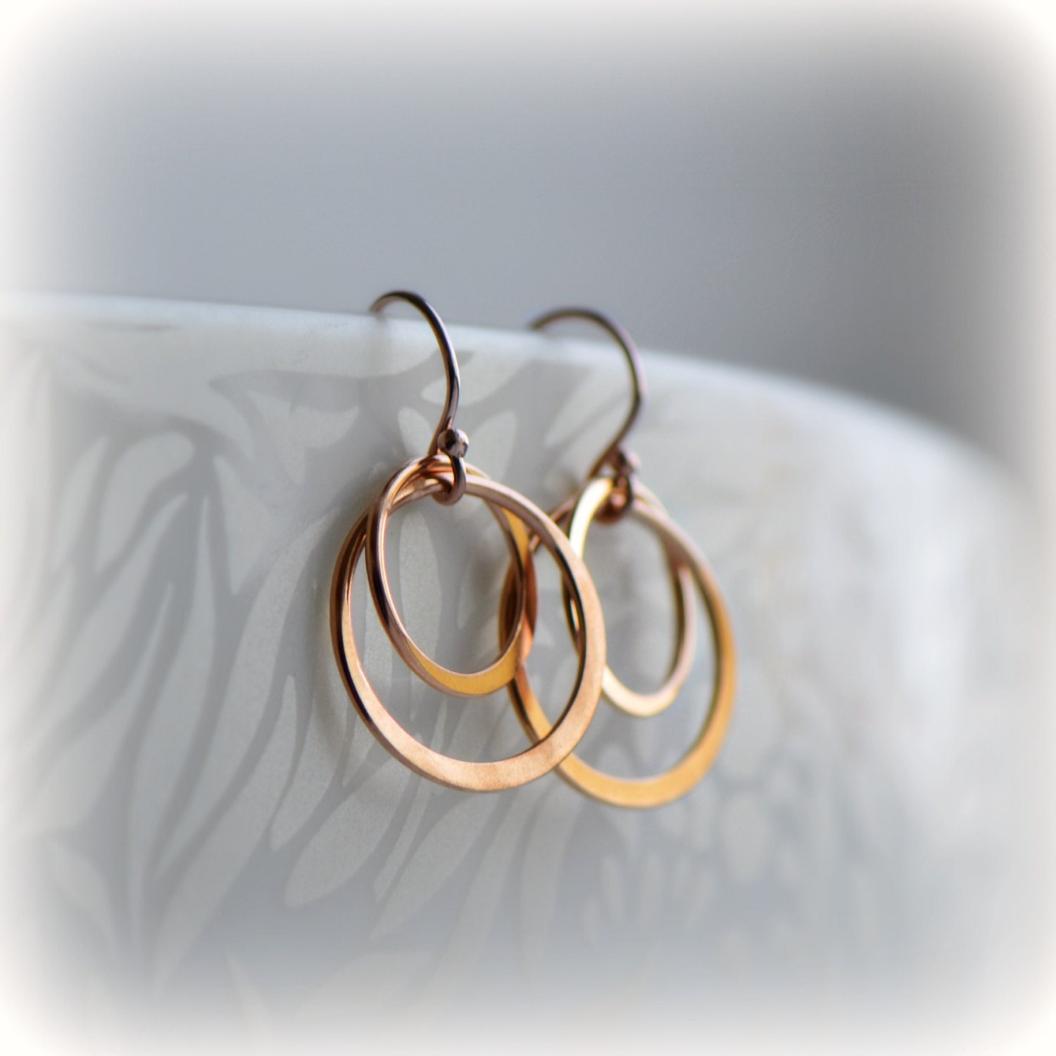 Double Hoop Earrings Rose Gold Hoop Earrings Pink Gold Circle Earrings Rose Gold Circle Earrings Gift for Her Bridesmaid Gift Blissaria