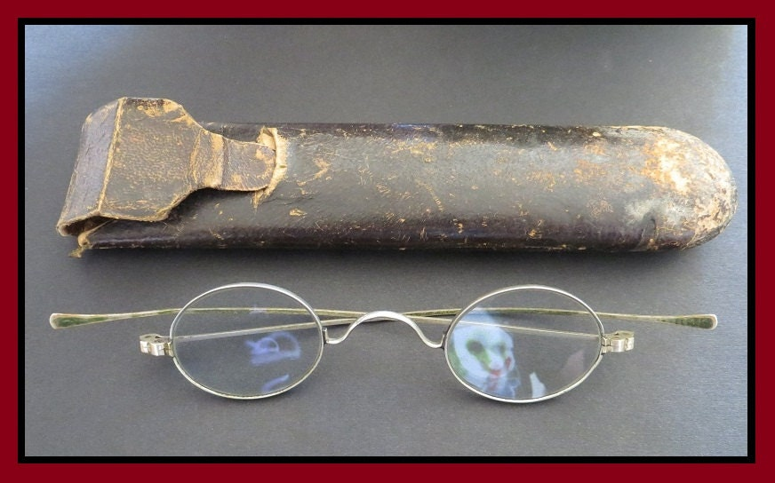 Classic Antique (1800s Vintage Oval Spectacles, Straight Temple Embossed Eyeglasses w/ Original Leather Case) Steampunk Gem