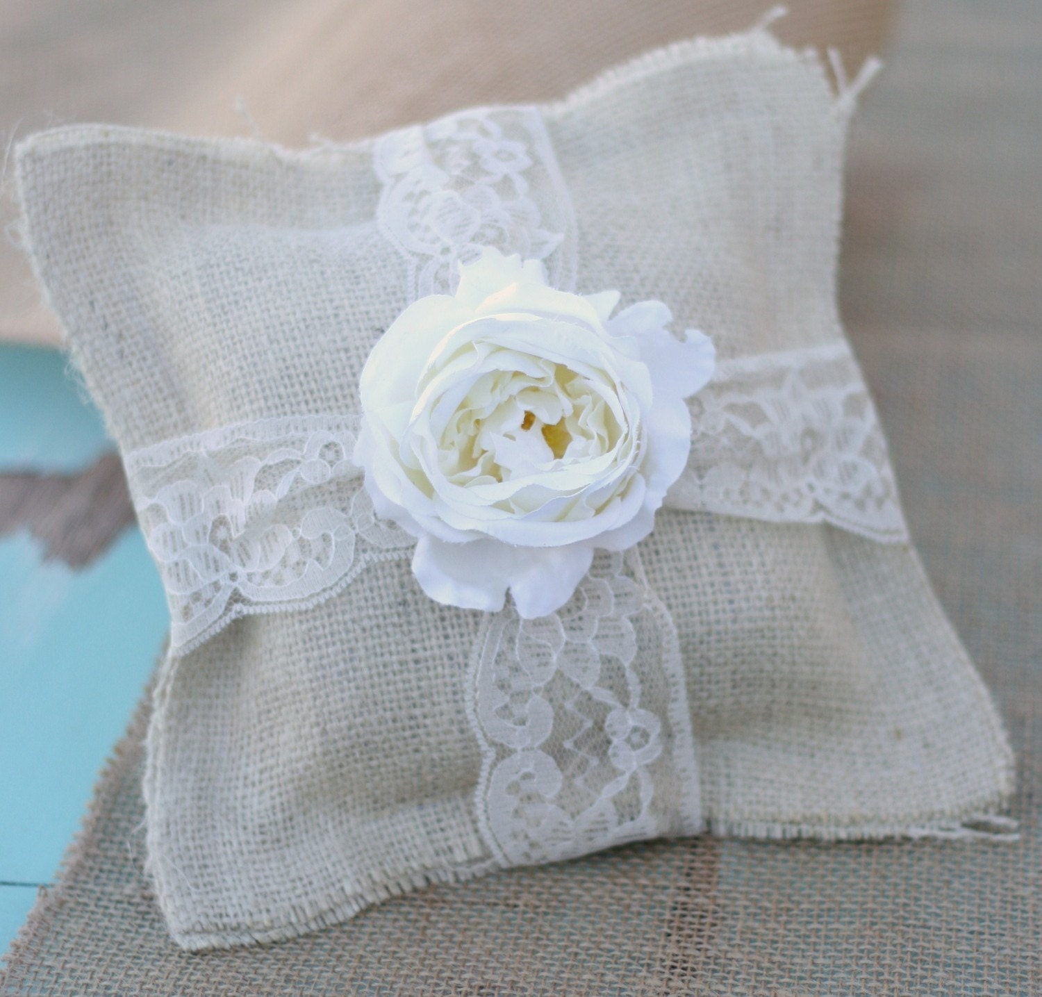 Vintage Style Rustic Spring Summer Woodland Wedding Shabby Chic Burlap Ring Bearer Pillow Antique Rose and Lace Accents