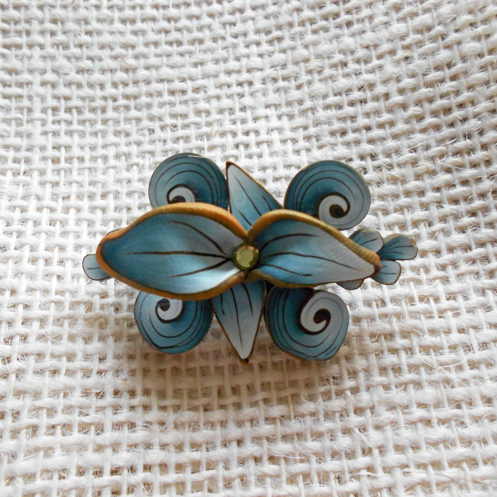 OOAK Blue Polymer Clay Art Nouveau Style Floral Brooch - blossomstreetstudio