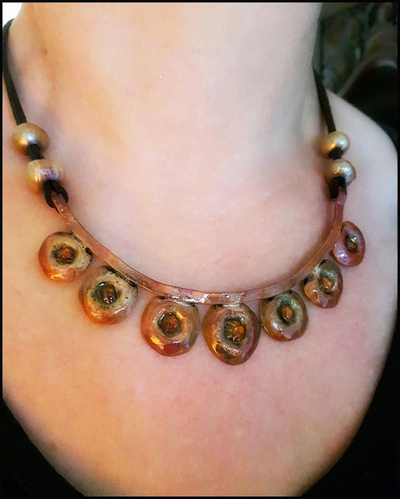 Copper bib necklace bohemian romantic heat patina patinated copper pearls amber feminine hippie oneofakind statement leather