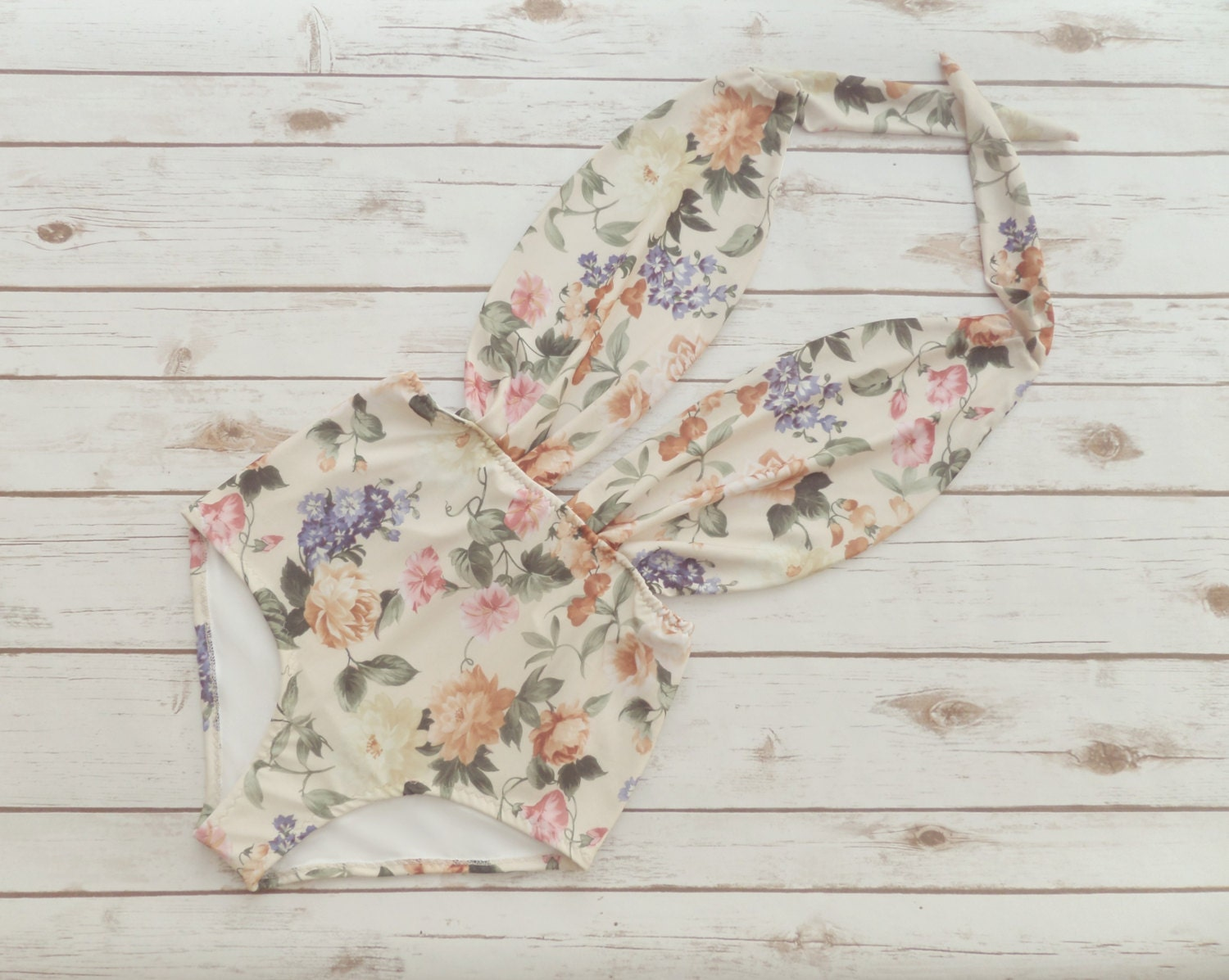 Swimsuit High Waisted Vintage Style One Piece  Retro Pinup Maillot  Floral Print Bohemian Bathing Suit Swimwear  Unique Pretty  So Cute!