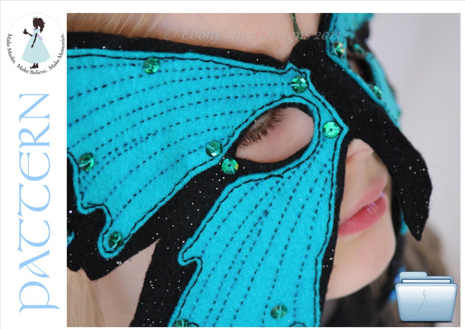 Butterfly mask PATTERN PDF.  One size fits most.  Instant Download. - EbonyShae