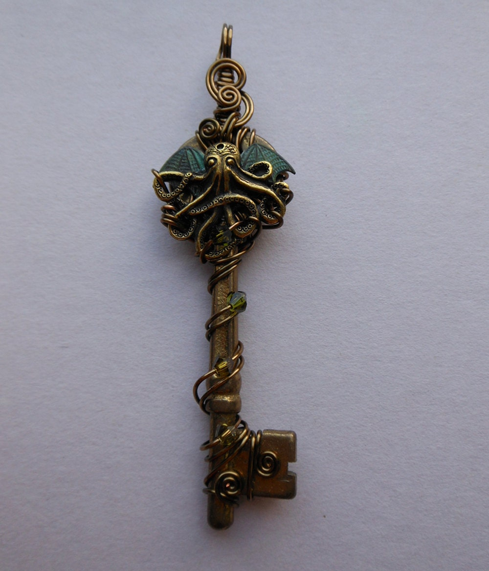 cthulhu key pendant wire wrapped key with by