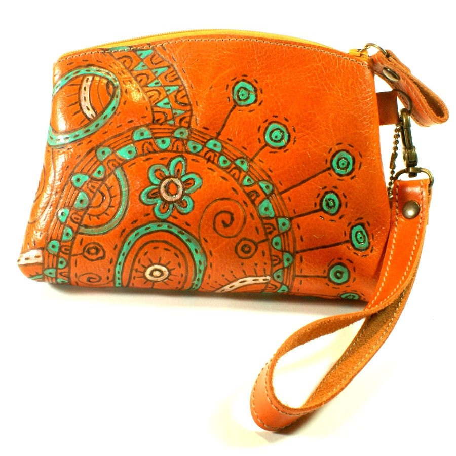Orange Sunrise with green bag purses leather