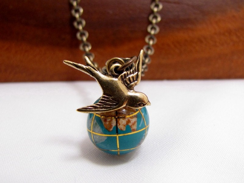 It's A Small World Glass Globe And Swallow Necklace