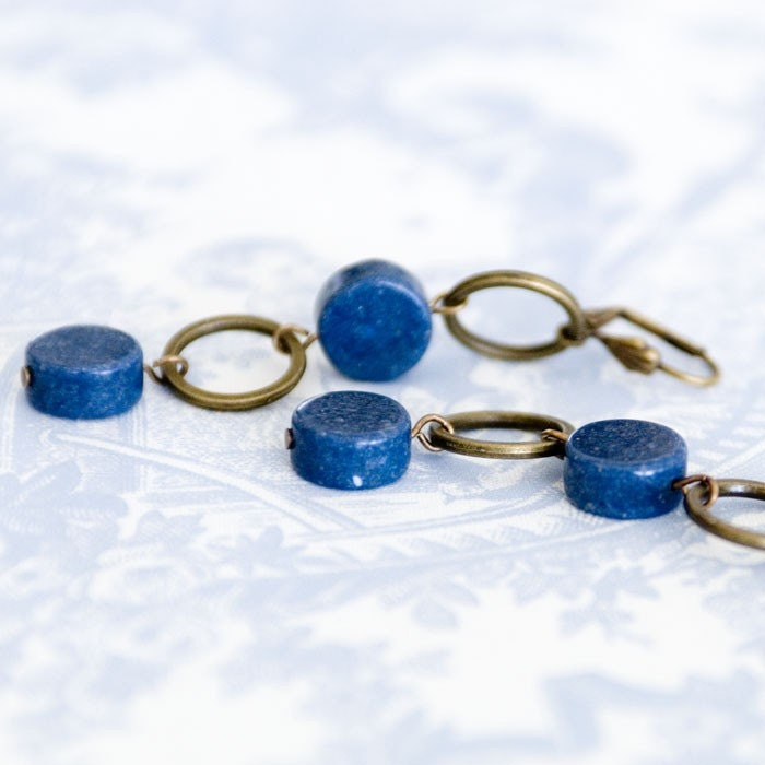 Continuum--Chunky Blue Sea Coral and Antiqued Circle Earrings