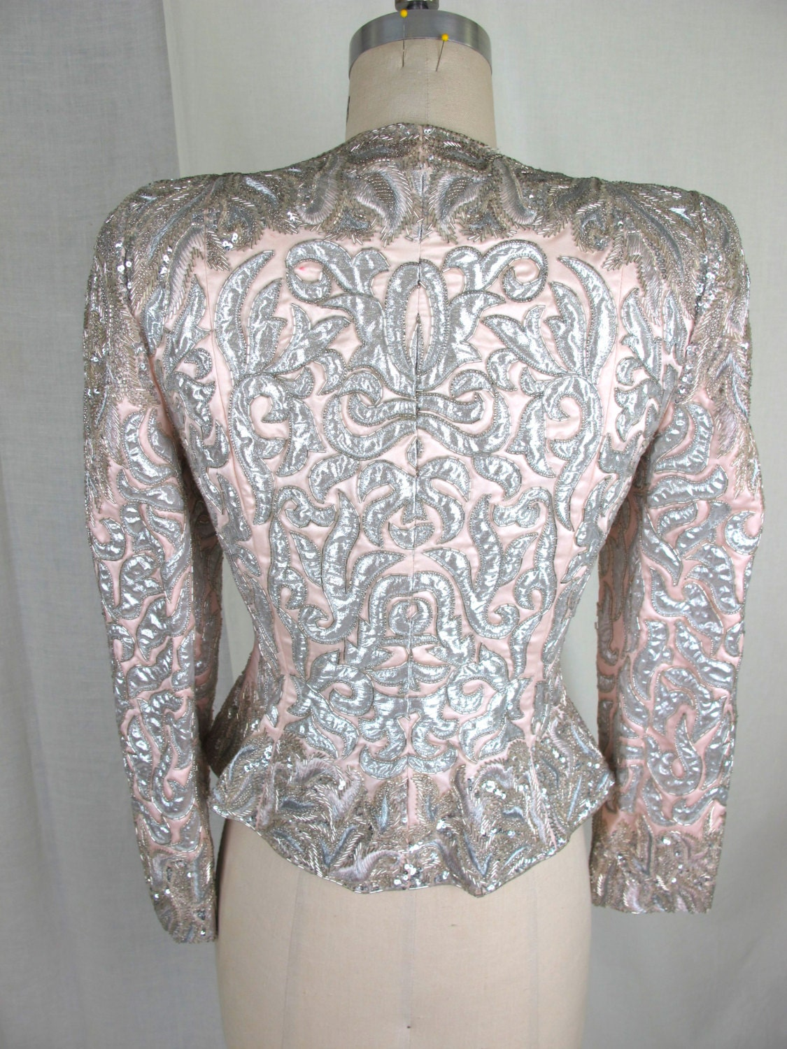 Silver and Pink Beaded Victor Costa Evening Jacket