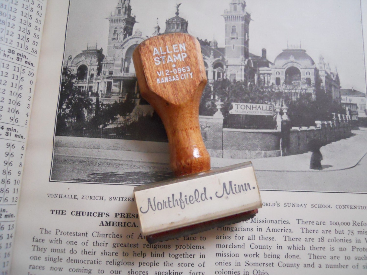 Antique Northfield, Minnesota Wooden Handled Allen Rubber Stamp