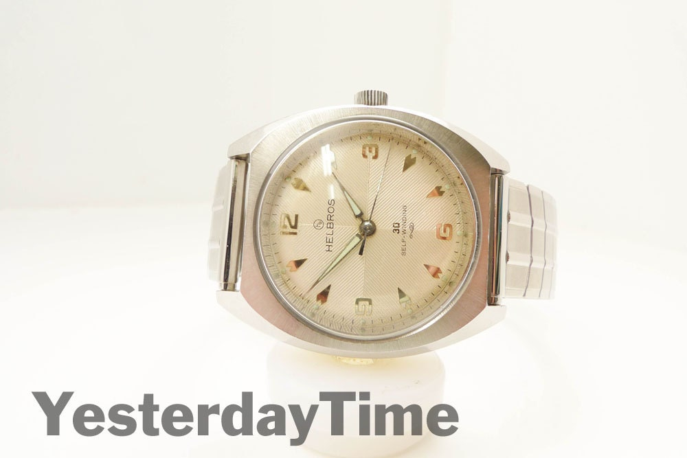 Helbros Mens Watch 1960 German Made 30 Jewel Automatic Movement Stainless Steel Case