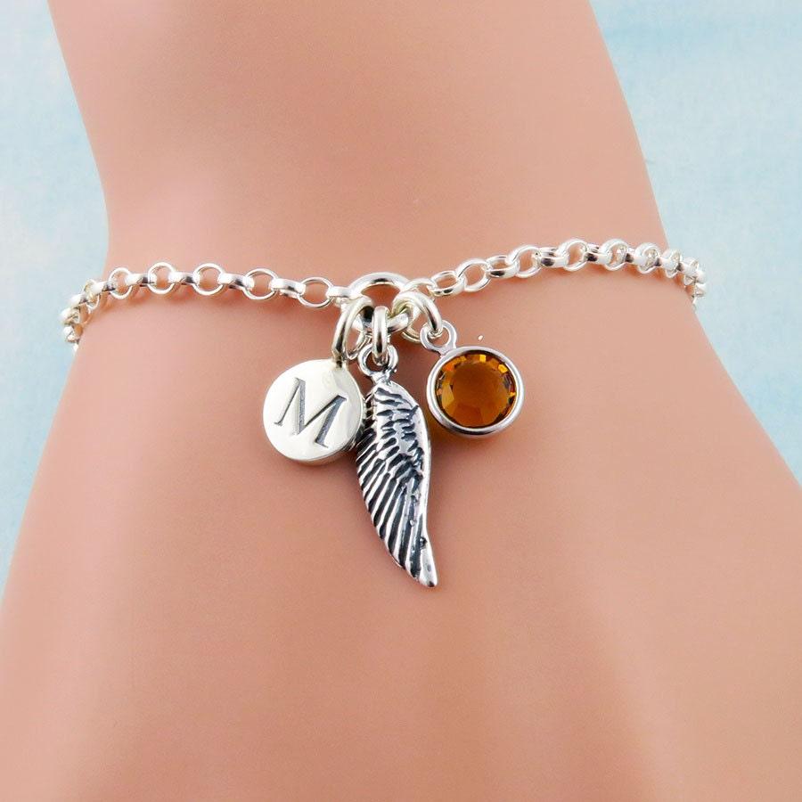 Personalized Angel Wing Bracelet Angels Bracelet Angel Jewelry Tiny Wing Charm Bracelet Initial Birthstone Bracelet Sterling Silver