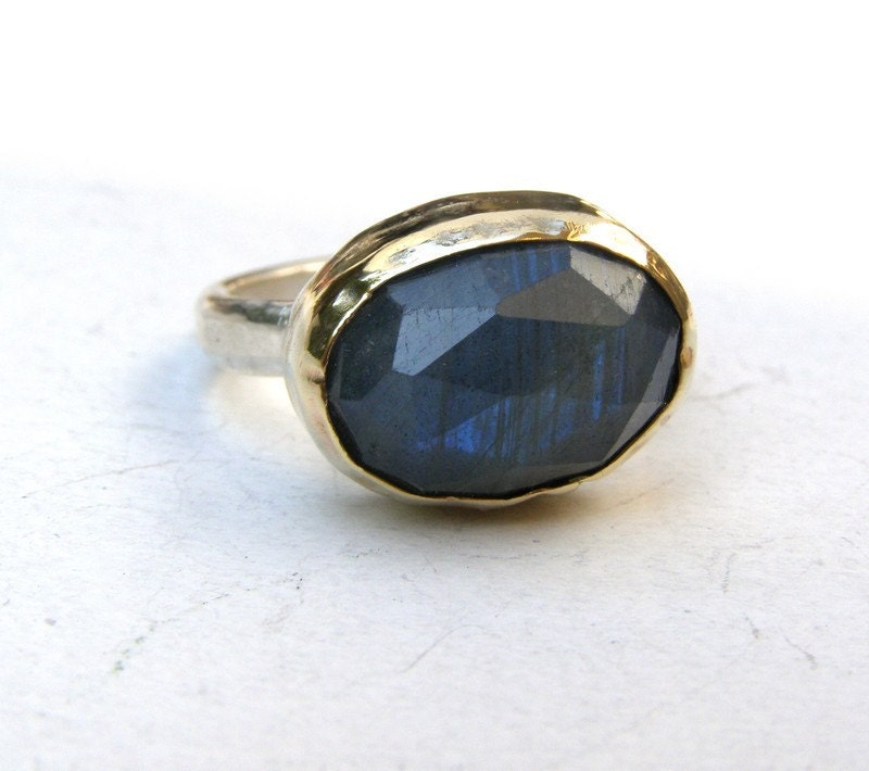 labradorite ring recycled silver sterling and 14k gold by