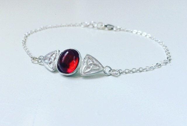 Sterling silver amber celtic trinity bracelet natural gemstone bracelet crystal healing alternative  grunge