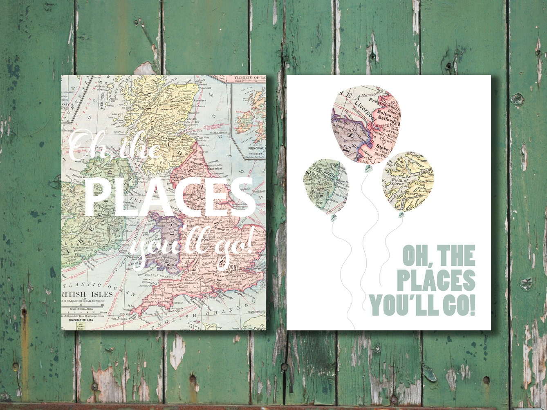 personalized boy oh the places you 39 ll go dr seuss vintage map prints