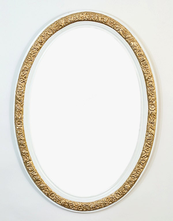 Gold mirror wall mirror large mirror brass by for White and gold mirror