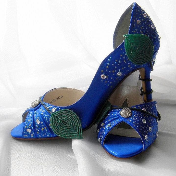 Items Similar To Wedding Shoes Ice Queen Peep Toes Sapphire High Heel Sage Gr
