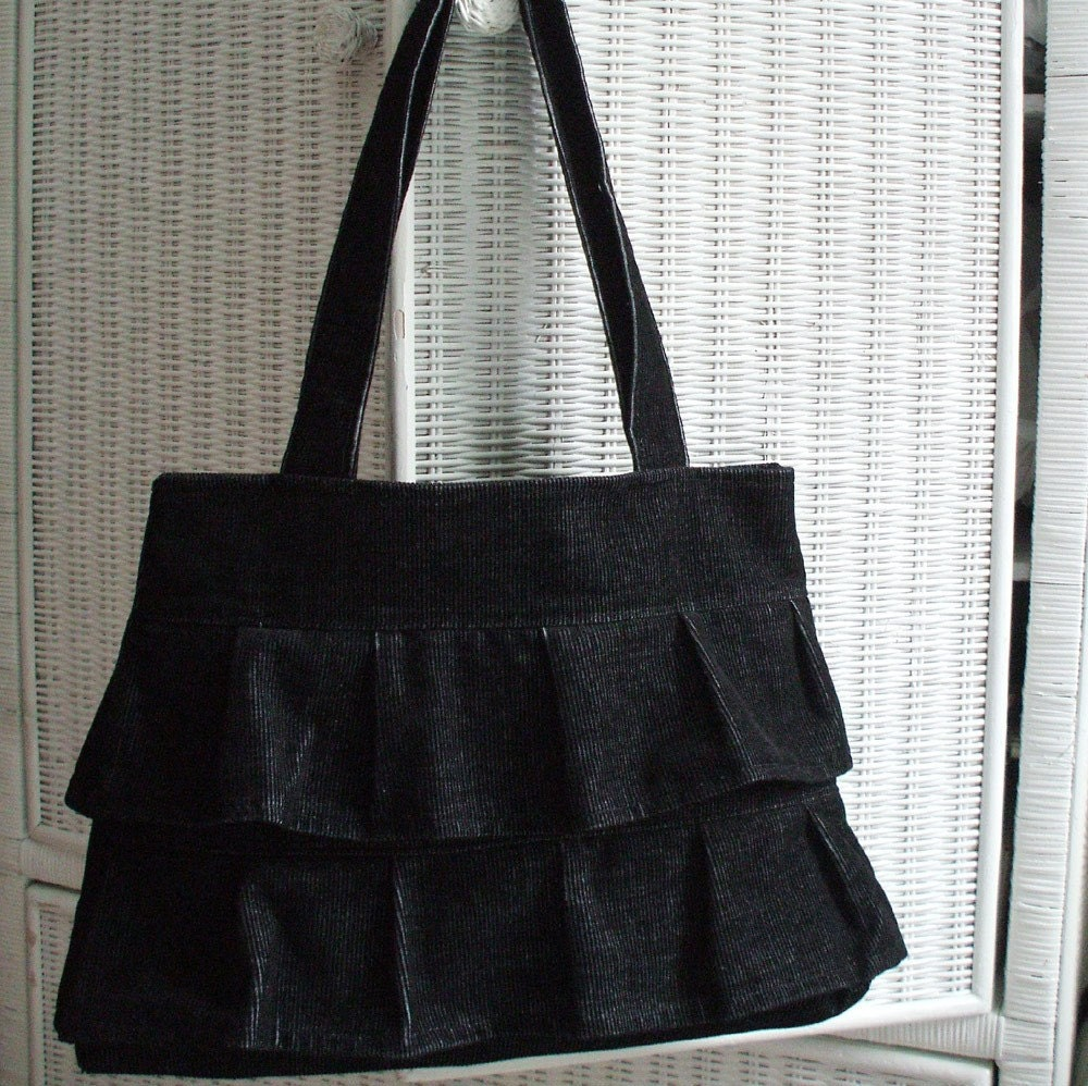 Etsy :: hellome :: Black Ruffle Purse in Distressed Corduroy from etsy.com