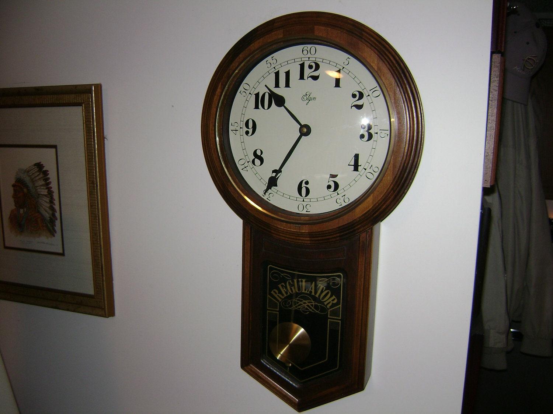 Vintage Elgin Regulator Clock With Pendulum By Klockwize