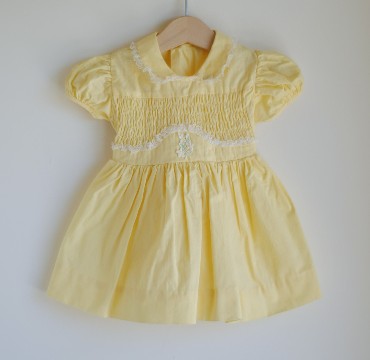 Vintage 1950 s Baby Girl Dress Yellow Smocked PETER by