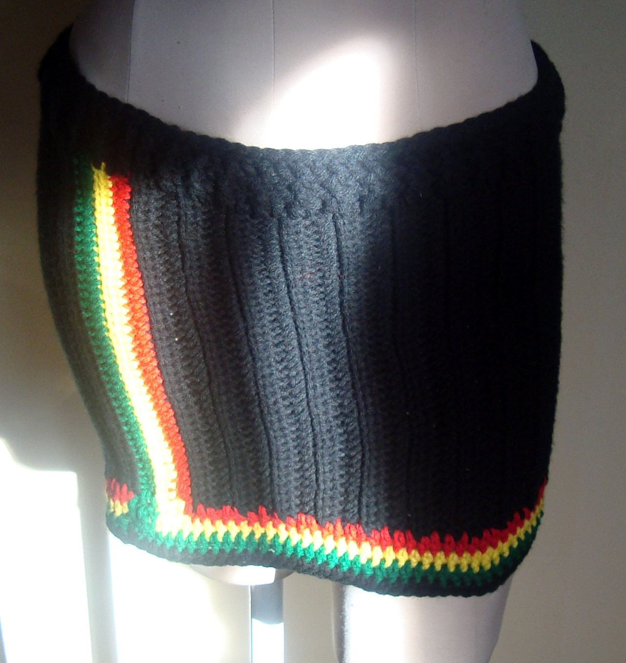 Bob Marley Inspired-Crochet Mini Skirt