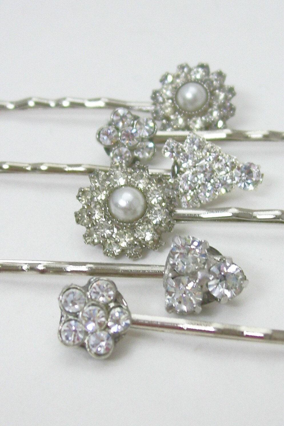 Vintage Bridal Rhinestone Bobby Pins