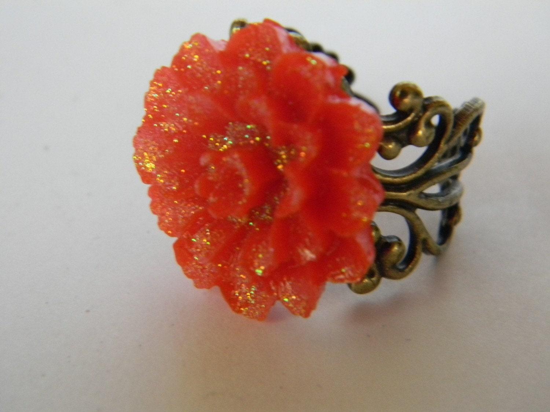 Glitter Red Carnation Ring